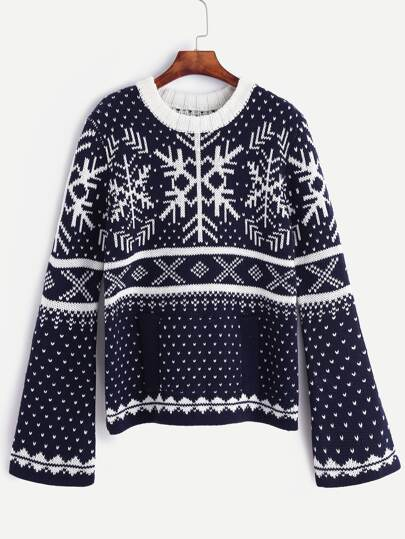 Navy Snow Ugly Christmas Sweater With Pocket