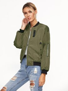 Contrast Ribbed Trim Patches Quilted Jacket