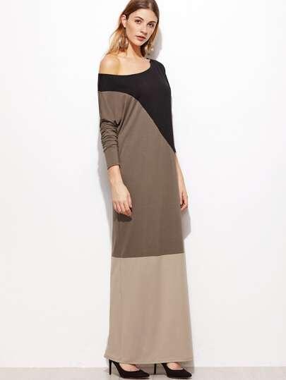 فستان طويل مربع ألوان مكشوف الكتف كم طويل