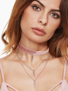 Dusty Pink Velvet Layered Spike Choker Necklace