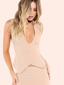 Plunging Tailored Asymmetrical Top BEIGE