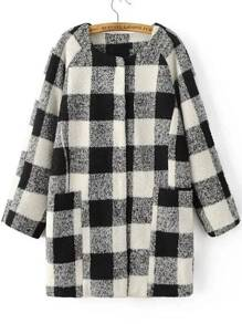 Black And White Plaid Raglan Sleeve Hidden Button Coat
