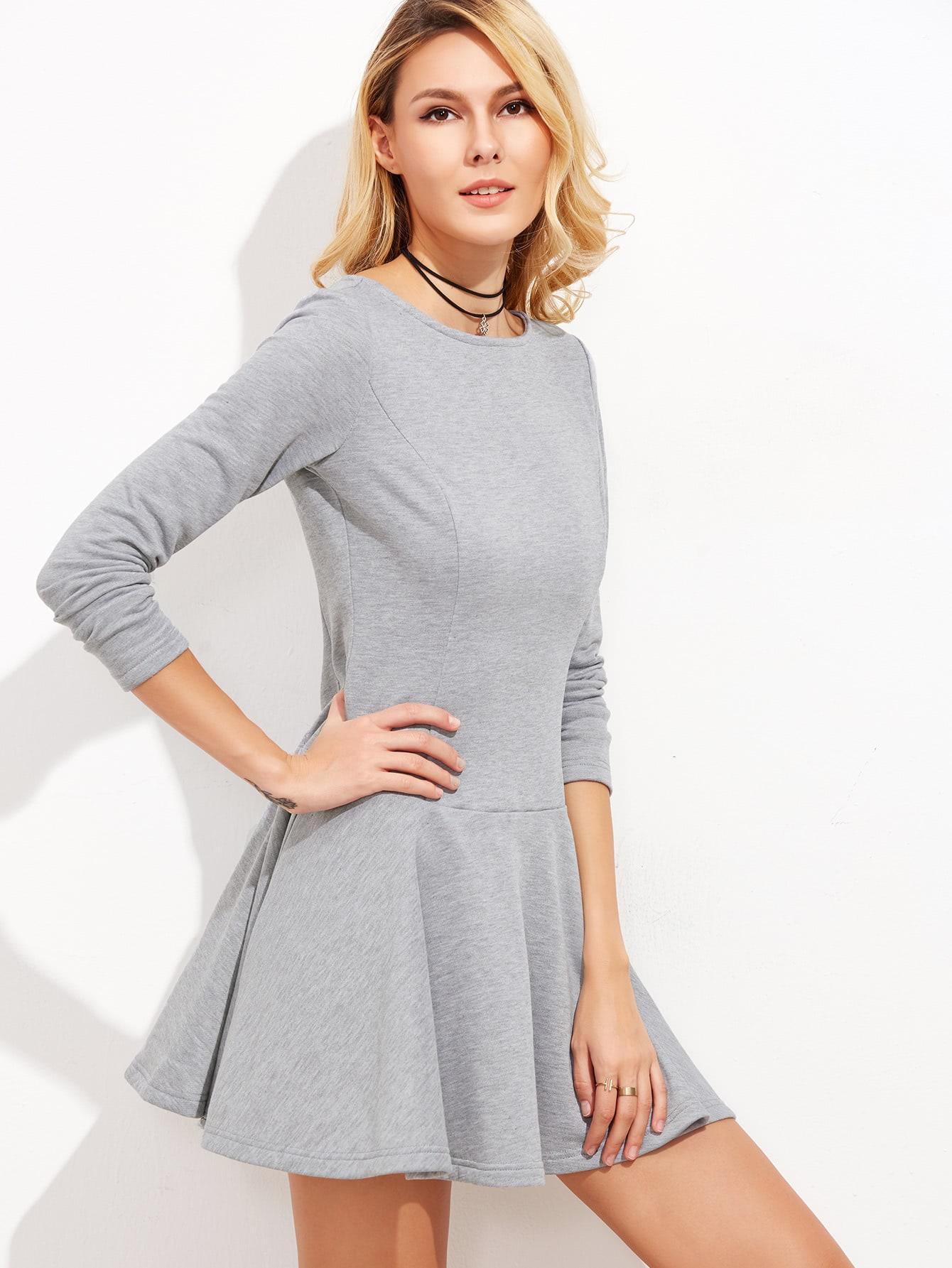 Фото Heather Grey Long Sleeve Drop Waist Skater Dress. Купить с доставкой