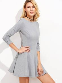 Heather Grey Long Sleeve Drop Waist Skater Dress