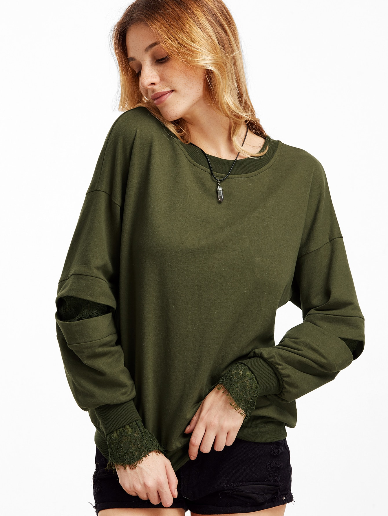 Army Green Lace Lined Open Sleeve SweatshirtArmy Green Lace Lined Open Sleeve Sweatshirt<br><br>color: Green<br>size: XS