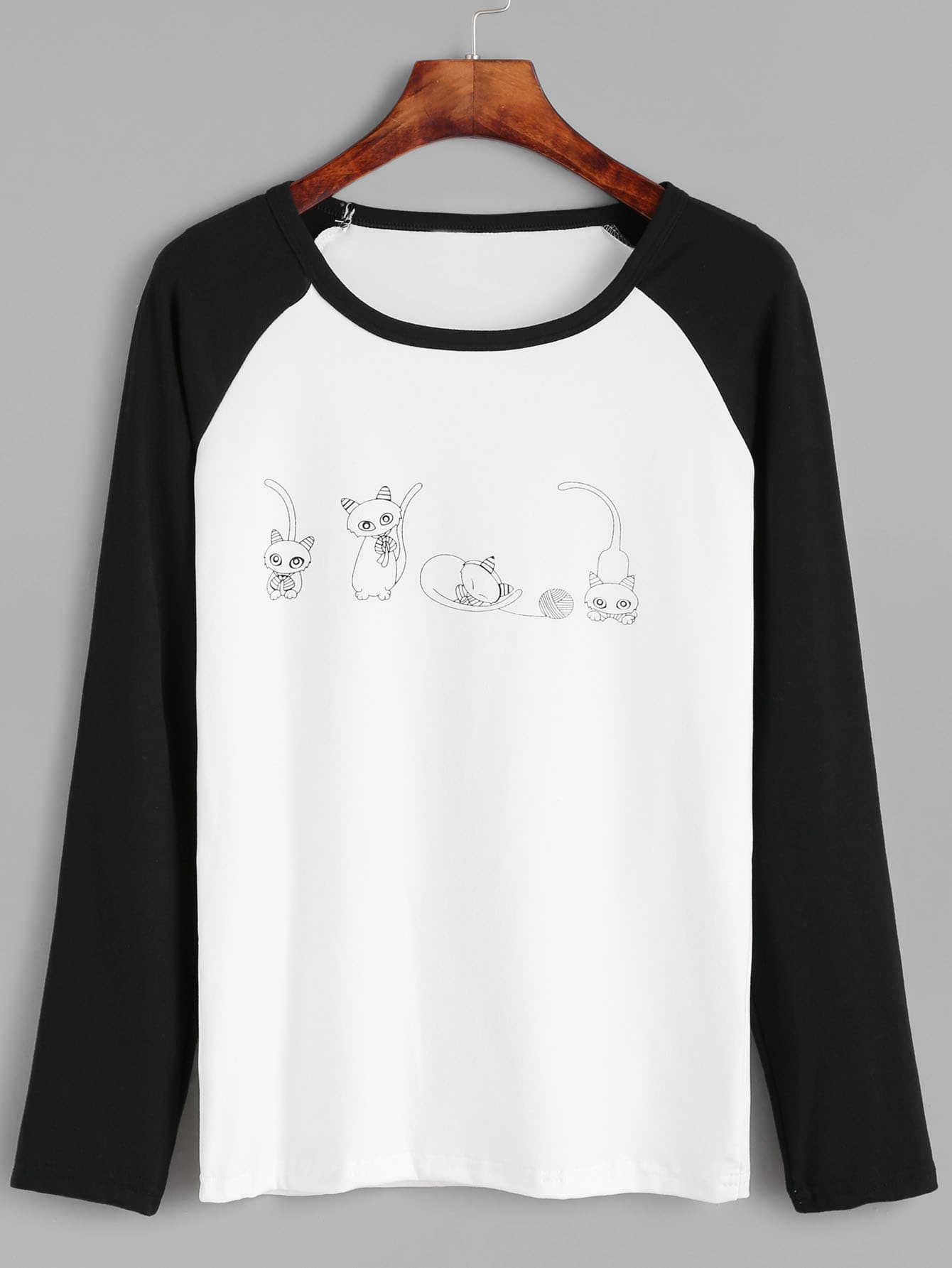 Contrast Raglan Sleeve Cats Print T-shirt tee161011101