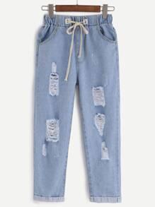 Pantalons en denim effet déchiré taille coulissée - bleu