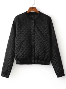 Black Embroidered Quilted Jacket