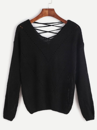Black Lace Up V Back Eyelet Chevron Knit Sweater
