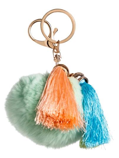 Light Green Pom Pom Tassel Keychain