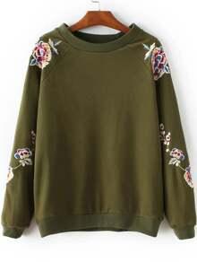 Sweat-shirt col rond avec broderie floral - vert armée