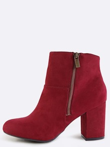 Faux Suede Exposed Zipper Boots BURGUNDY