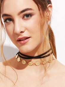 Black Layered Vintage Carved Coin Choker Necklace