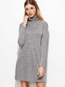 Heather Grey Cowl Neck Shift Dress