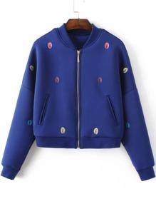 Blue Tree Embroidery Drop Shoulder Zipper Jacket