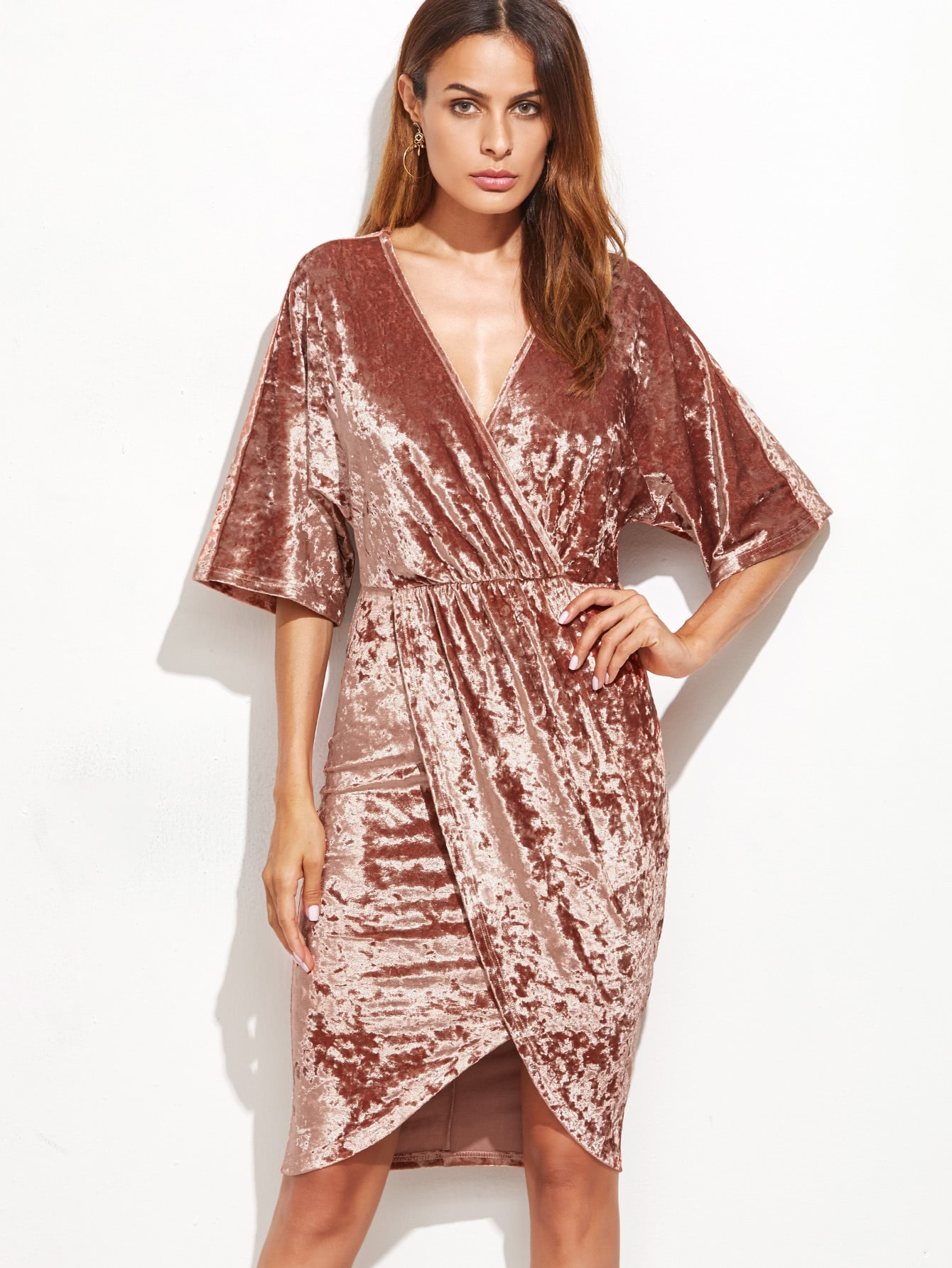 Brown Surplice Wrap Velvet Dress dress161020719