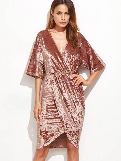 Brown Surplice Wrap Velvet Dress