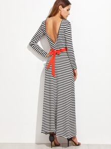Contrast Striped Open Back Self Tie Dress