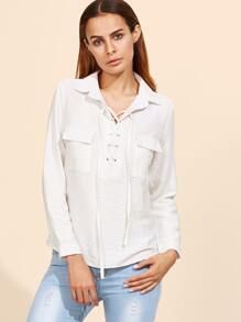 White Lace Up Blouse With Pockets