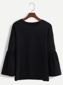 Black Round Neck Bell Sleeve T-shirt