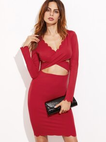 Red Cutout Crossover Front Scallop Trim Dress