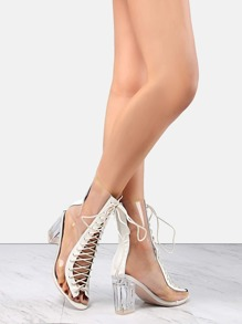 Lace Up Crystal Heel Booties WHITE