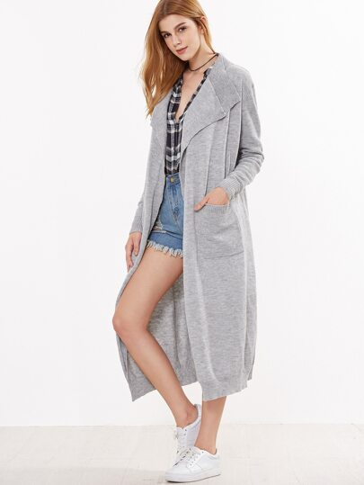 Grey Open Front Ribbed Trim Long Cardigan With Pockets