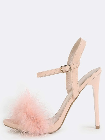Fluffy Feather High Heels PINK