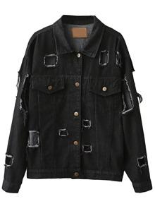 Black Single Breasted Ripped Denim Jacket