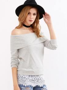 Ribbed Knit Foldover Off The Shoulder Lace Trim Sweatshirt
