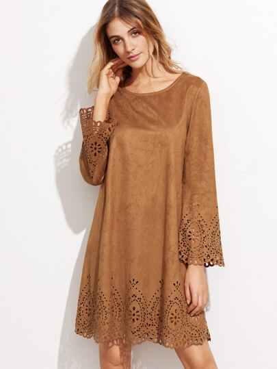 Camel Suede Laser Cutout Dress