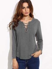 Grey Eyelet Lace Up Curved Hem T-shirt