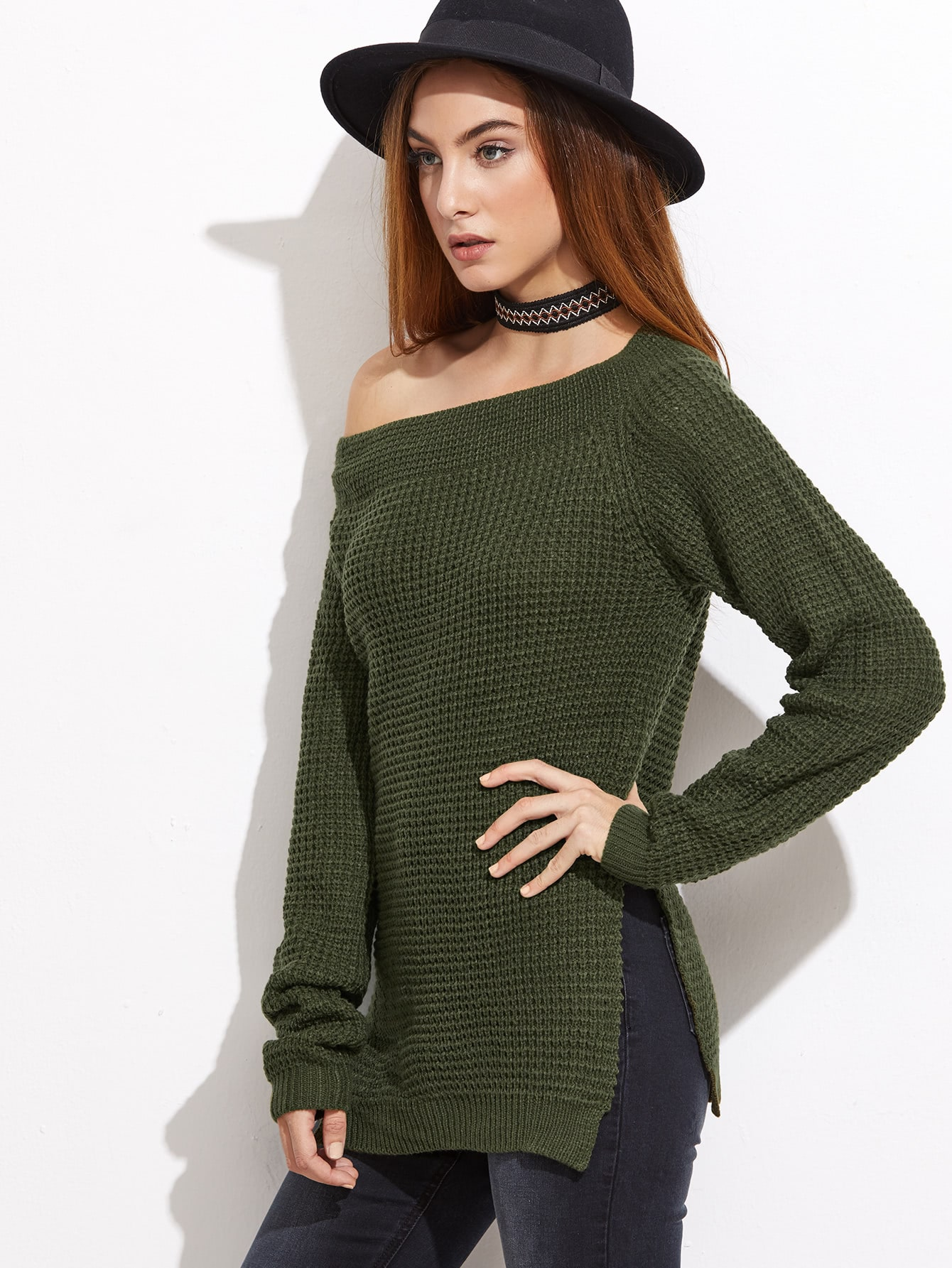 Buy Olive Green Waffle Knit Asymmetric Shoulder Sweater