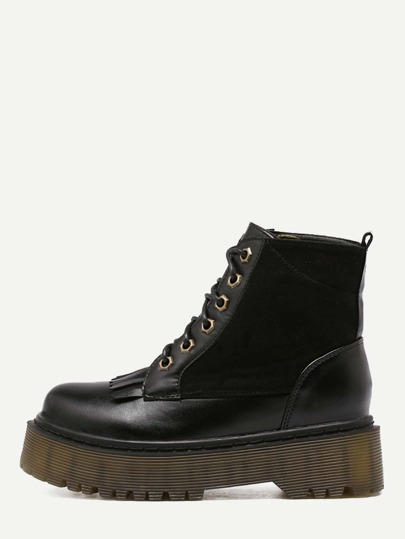 Black Faux Leather Round Toe Lace Up Flatform Short Boots
