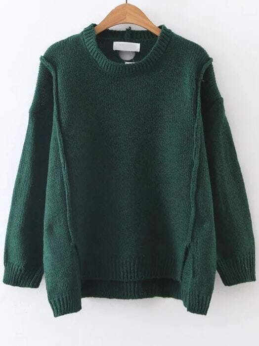 Dark Green Ribbed Trim Dip Hem Sweater sweater161025230