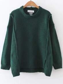 Jersey asimétrico de canalé - verde oscuro