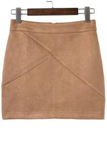 Zipper Back Paneled Fitted Skirt