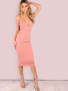 Double Strap Cross Back Cleavage Bodycon Midi Dress PEACH