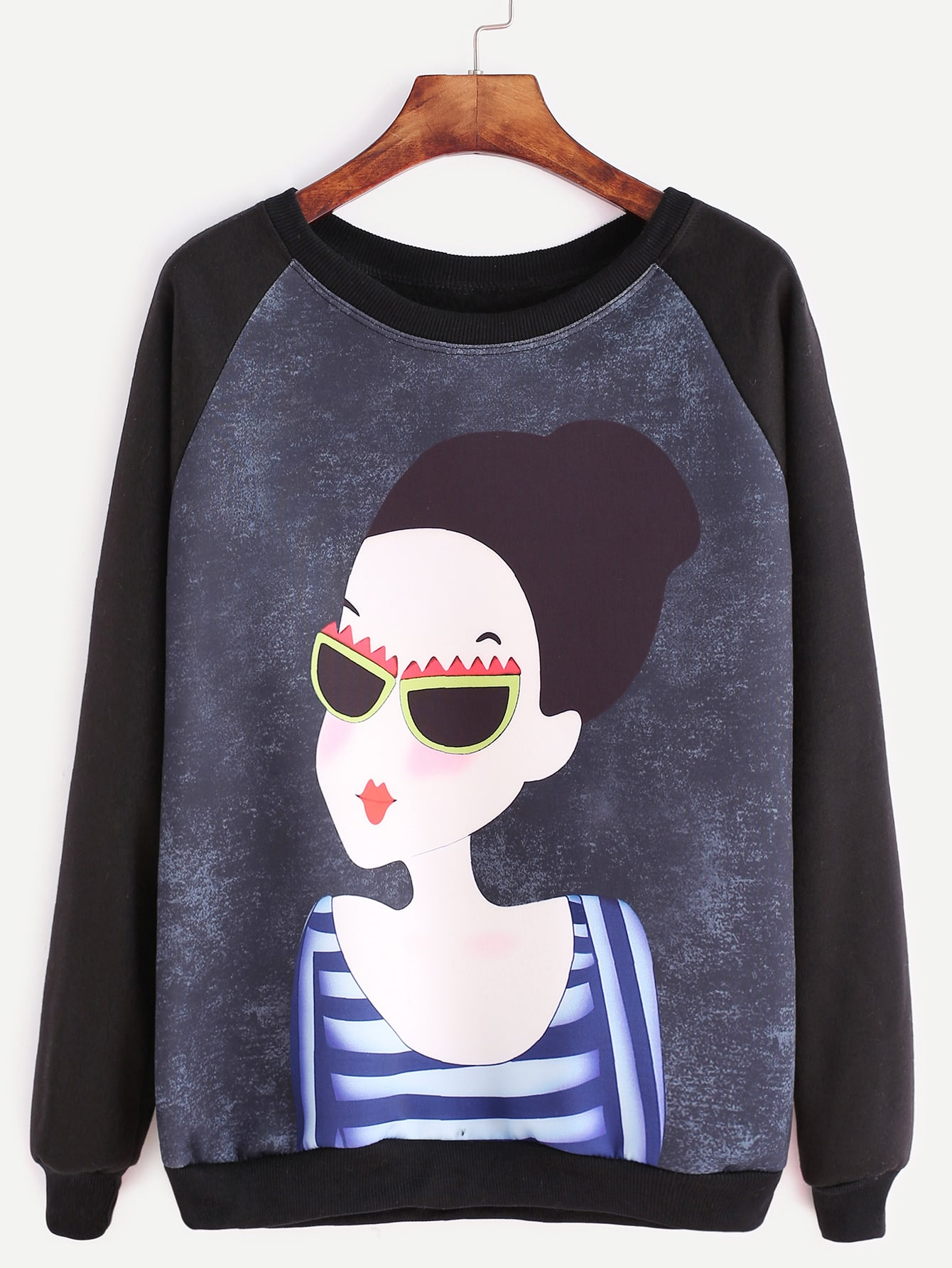 Black Raglan Sleeve Girl Print SweatshirtBlack Raglan Sleeve Girl Print Sweatshirt<br><br>color: Black<br>size: one-size