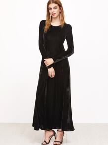 Black Long Sleeve A Line Velvet Dress