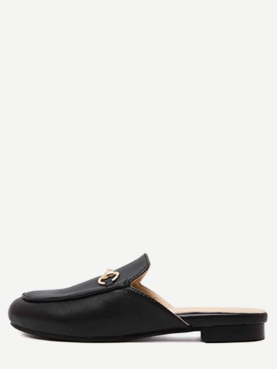 Black Faux Leather Flat Loafer Slippers