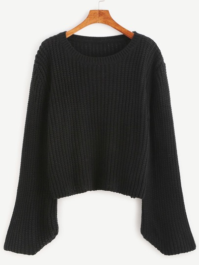 Black Ribbed Knit Bell Sleeve Sweater