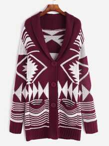 Burgundy Geo Pattern Shawl Collar Sweater Coat