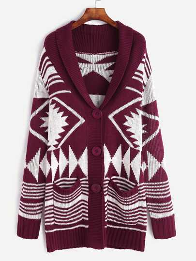 Burgundy Geo Pattern Shawl Collar Sweater Coat