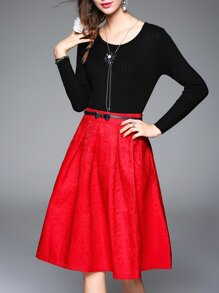 Black Knit Top With Belted Jacquard Skirt