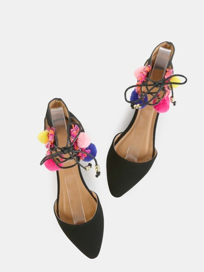 Multicolor Threaded Pom Flats BLACK