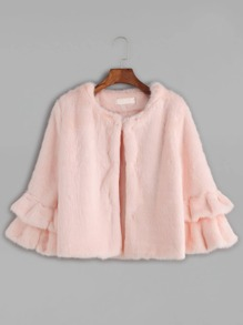 Pink Tiered Ruffle Sleeve Faux Fur Coat