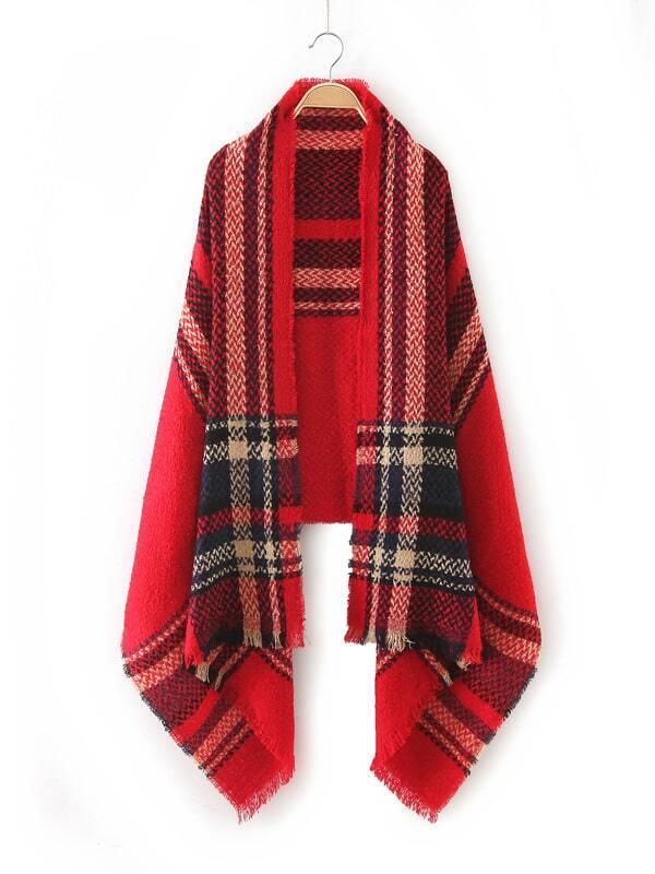 Red Plaid Raw Edge Scarf scarf161008210