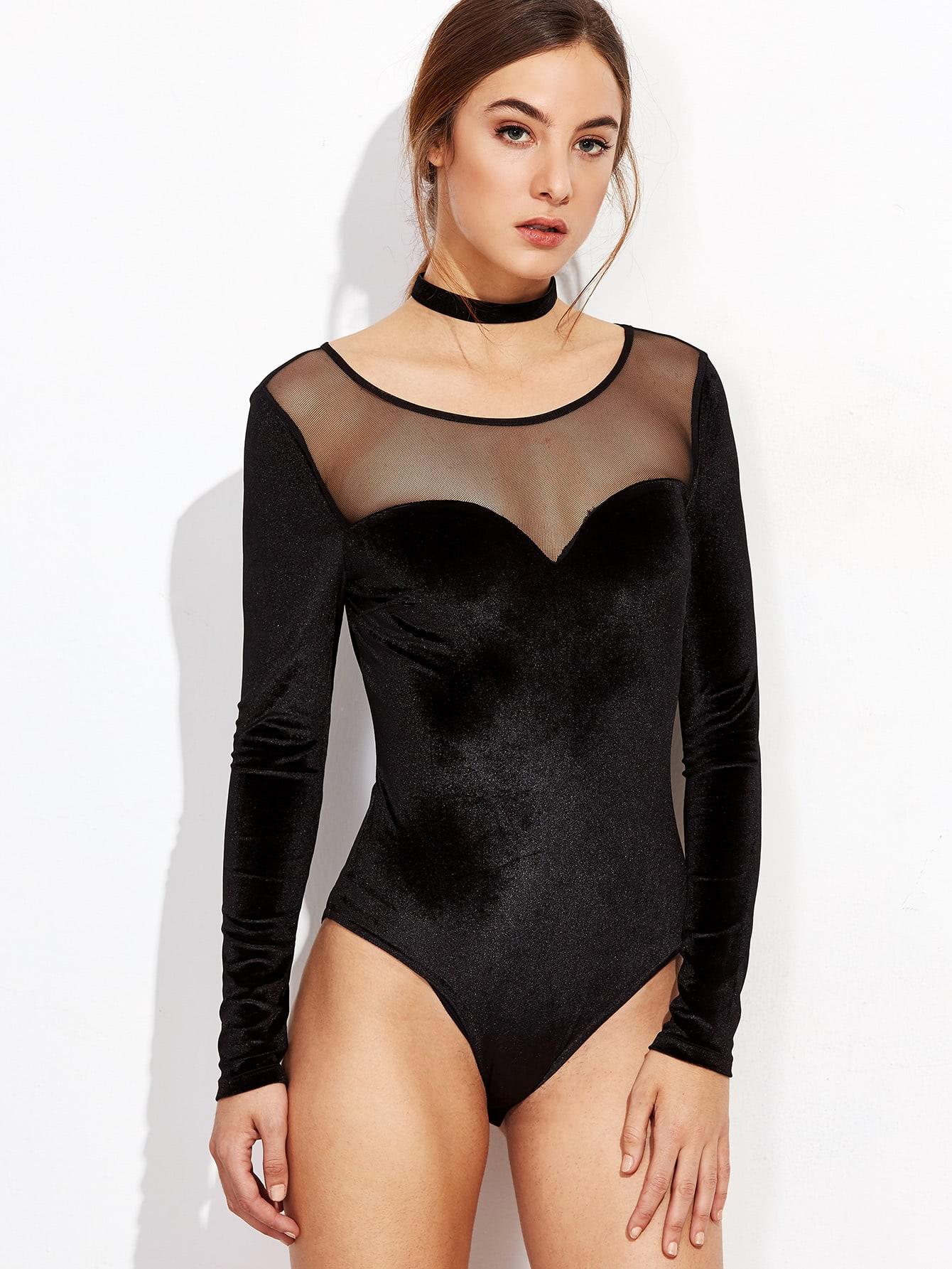 Фото Black Illusion Neckline Velvet Bodysuit. Купить с доставкой