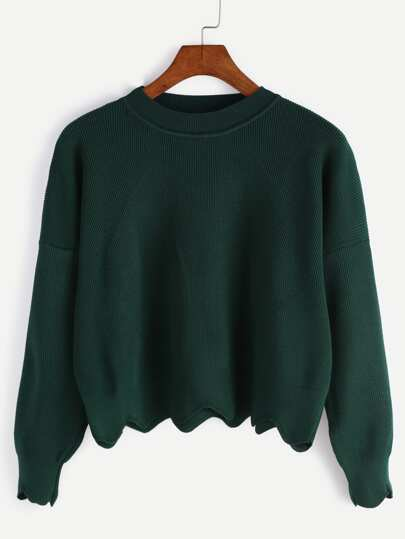 Dark Green Scalloped Crop Sweater